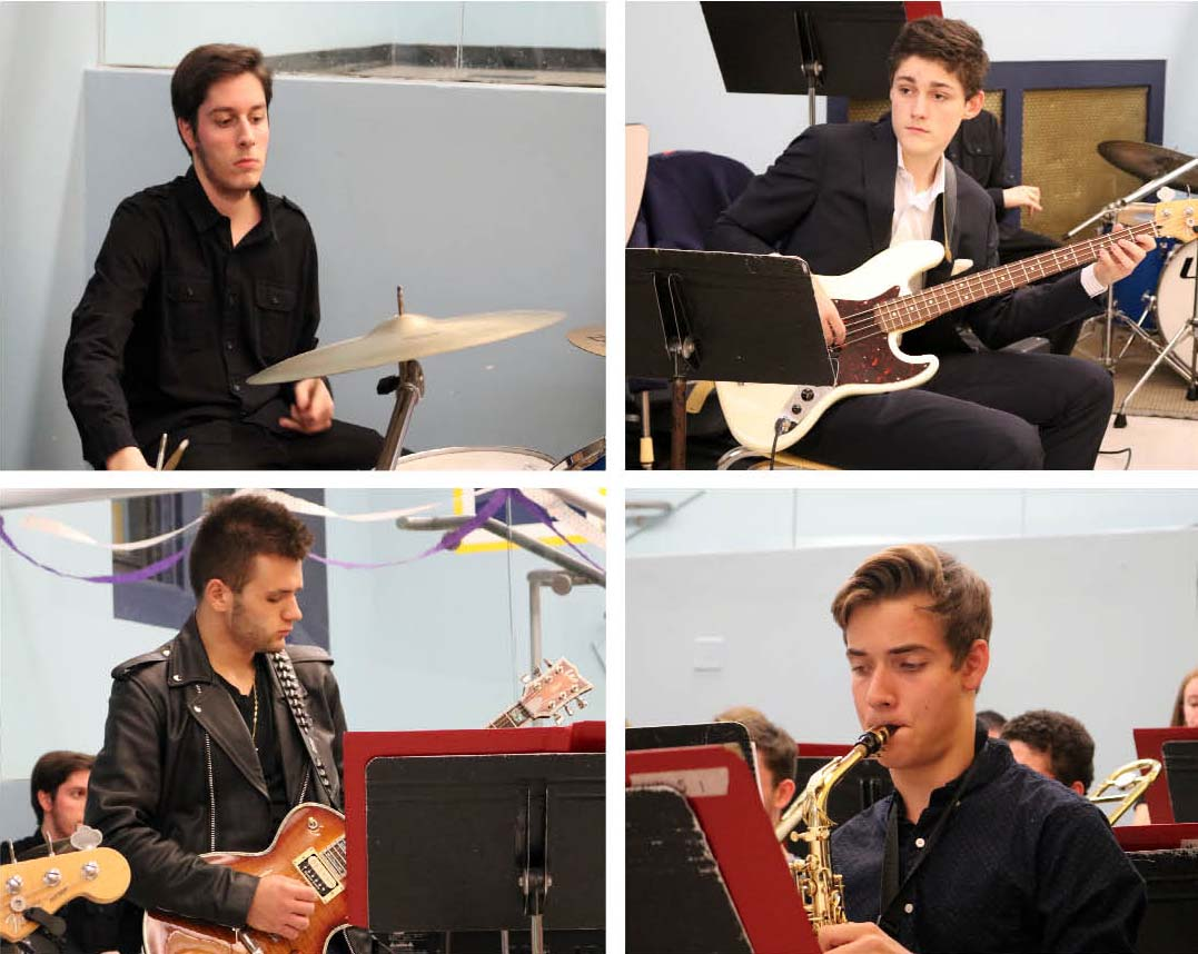 Senior John Prignano on drums (top l), Junior Jon-Howard Bissel on bass (top r), Michael Ruggiero (bottom l) on guitar, and Nick Wessman on sax (bottom r) were among the student performers who played at the Jazz Band fundraiser.