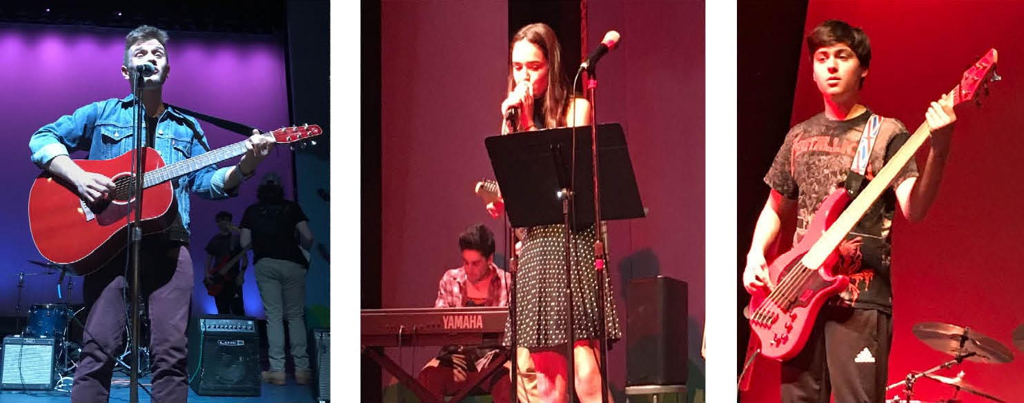 (l to r) Michael Ruggiero, Anais Leon-Kelly and Lucas Matos perform at Battle of the Bands.