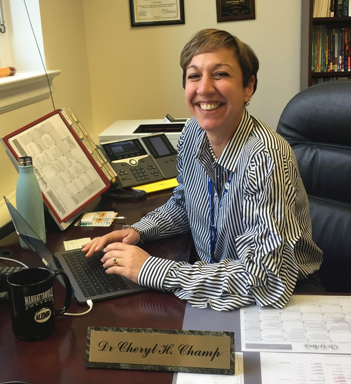Superintendent Champ, in her new office, prepares for the challenges that face the Pelham Union Free School District.