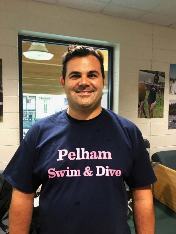 Coach Chris Drwinga prepares to lead the PMHS boys swim team.