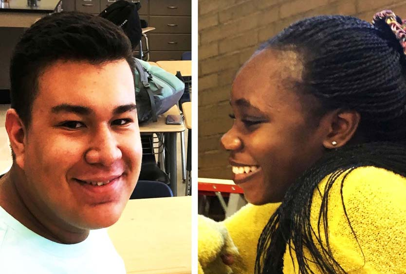 Junior Josep Garcia (l) attends a meeting  of Pelham Pals while Junior Favour Ella hangs out in gym class.