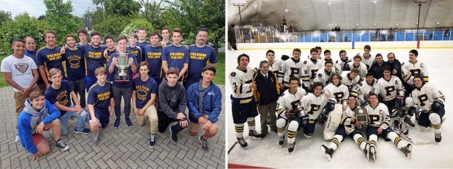 Members f the state championship rugby team (l) and ice hockey team (l) celebrate their victories.
