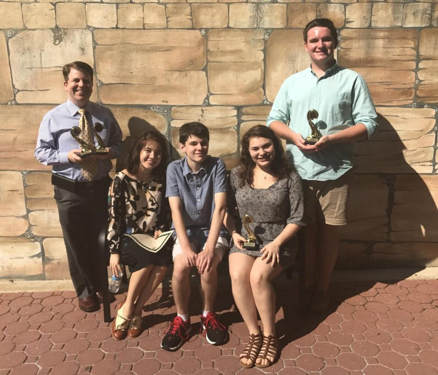 (l to r) Mr. Beck, sophomores Emma McNulty and Jack Finegan, junior Athena Woodfin and  graduate Andrew O'Brien represent Pelham at the National Youth Theatre Awards.