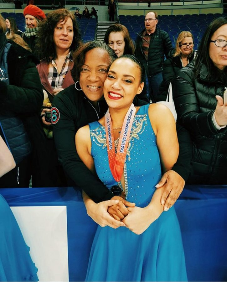 Senior Taylor Blake celebrates, alongside her mom, her qualification for the world championships.