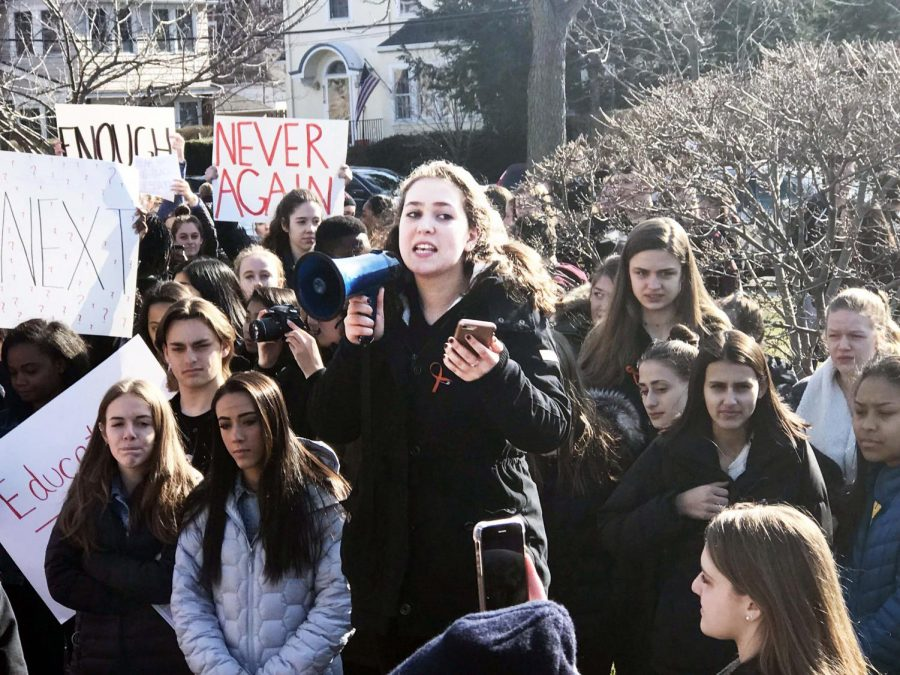 Student+Leana+Rutt+addresses+a+crowd+of+over+200+students+who+participated+in+the+walkout+in+support+f+school+safety.