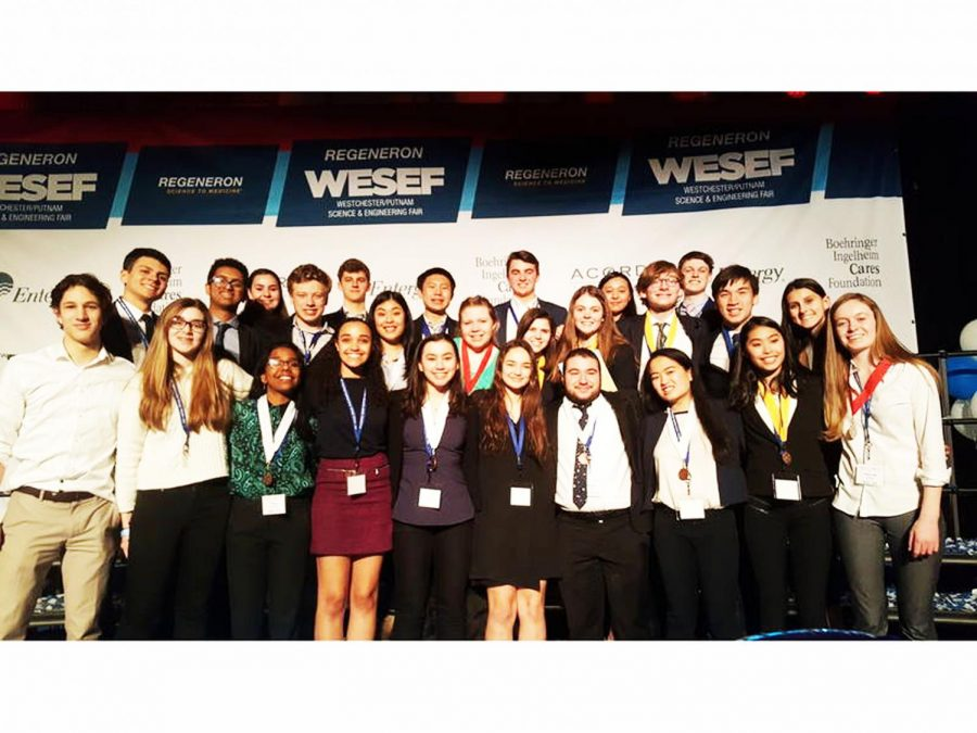 Science+Research+students+celebrate+their+success+after+the+WESEF+competition.