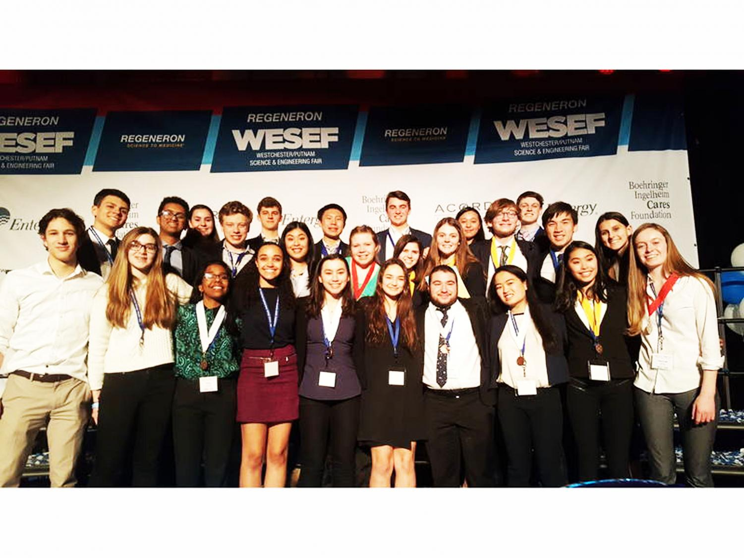 Science Research students celebrate their success after the WESEF competition.