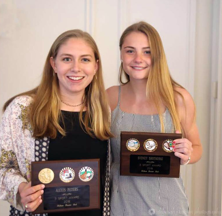 Alexis Peters (r) and Sydney Shotkoski (r) were honored as 3-Sport Athletes at the Senior Sports Award Ceremony.
