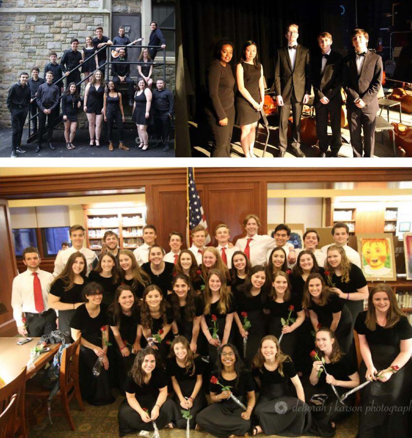 (Top l to r) Graduating senior members of the band, the orchestra and (bottom) the chorus step into the spotlight for the final time at PMHS.