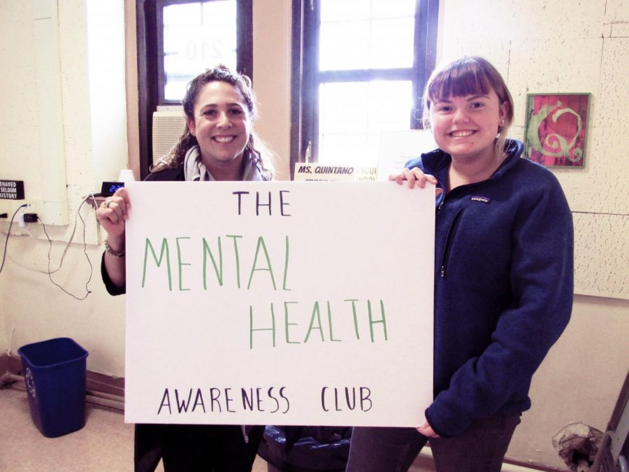 (l to r): Club Advisor Ms. Quintano and sophomore Lucy Edmunds hope the club will provide support for students feeling stressed out.