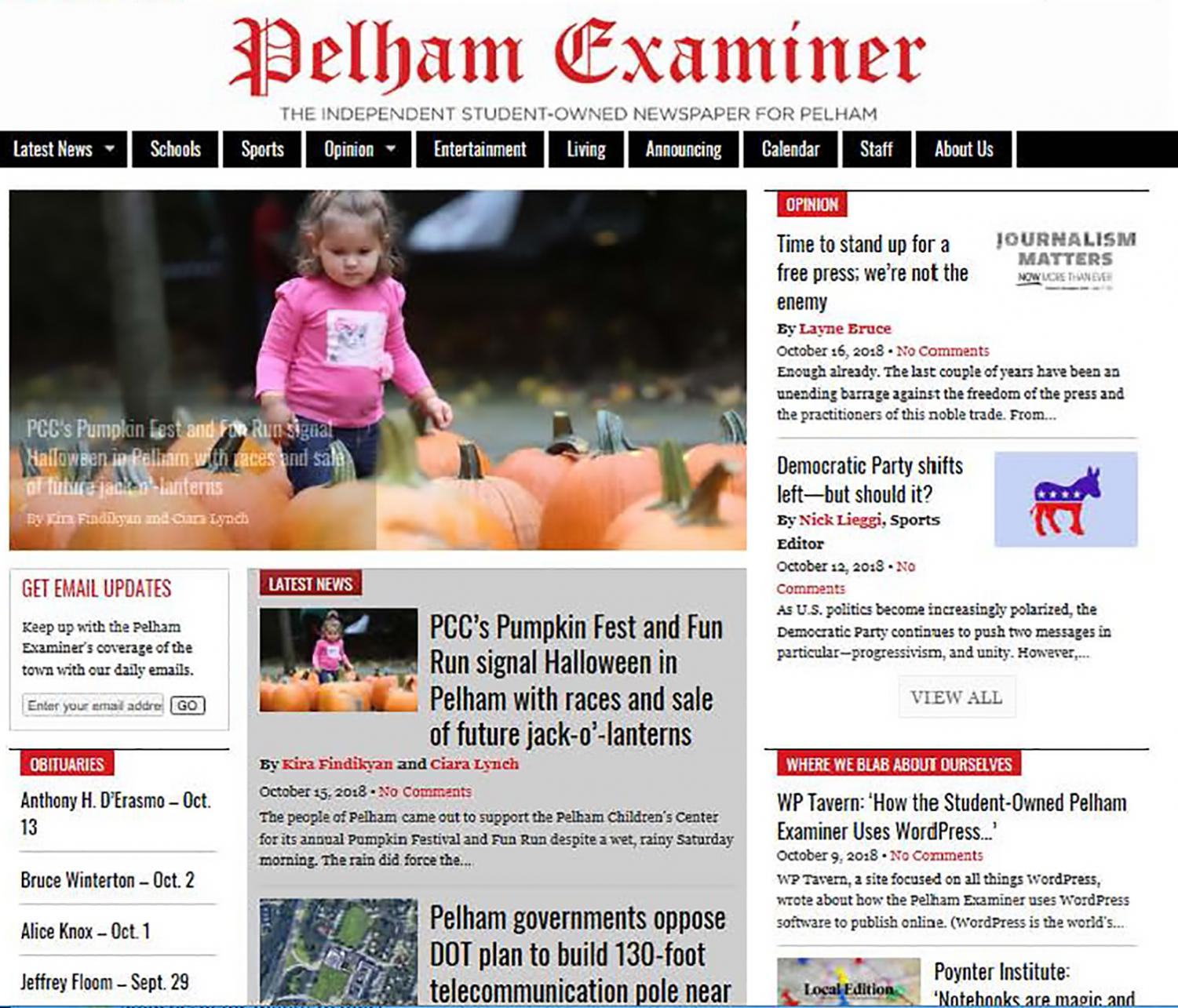 The all-student run Pelham Examiner updates its site with news daily.