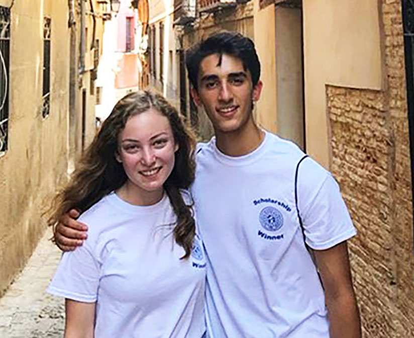 ++Michael+smiles+alongside+a+fellow+scholarship+winner+in+the+calles+bonitas+of+Spain.