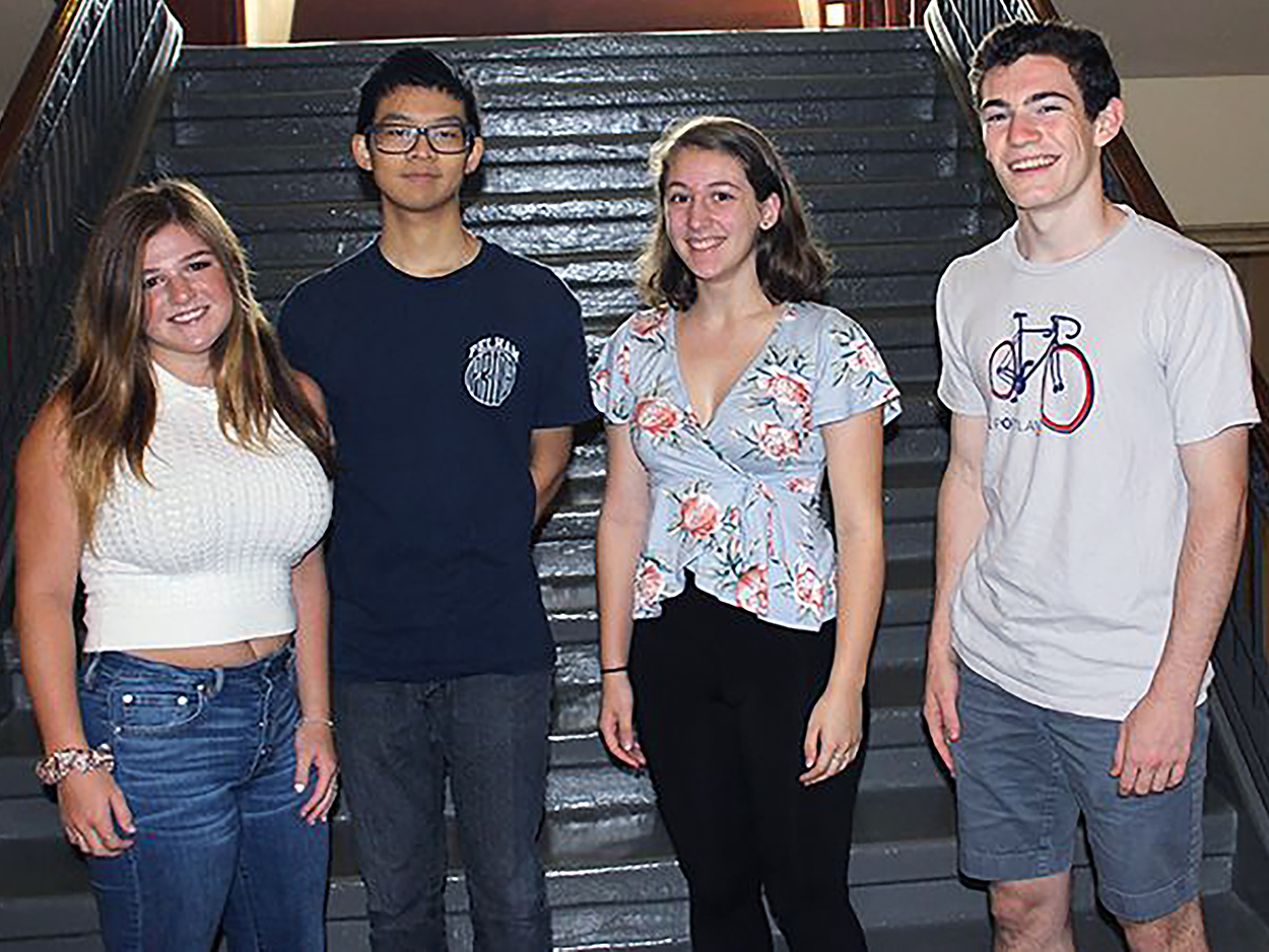 (l to r): Seniors Rachel Brewer, Richard Che,  Elise Aronson, and Ben Glickman celebrate being  named semifinalists.
