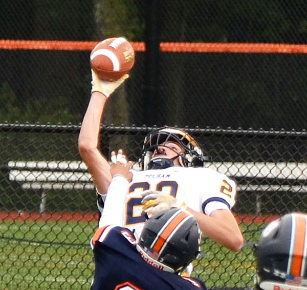 Senior Harry Ravitz stretches for a touchdown catch.
