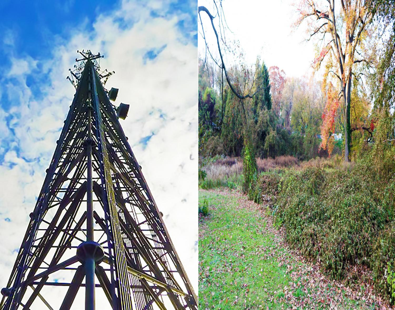 (l) A 130-foot tall cell phone tower similar to this one may soon be casting its shadow across PMHS. (r) the plot of land opposite Pelham's sports field on which the tower may be built.