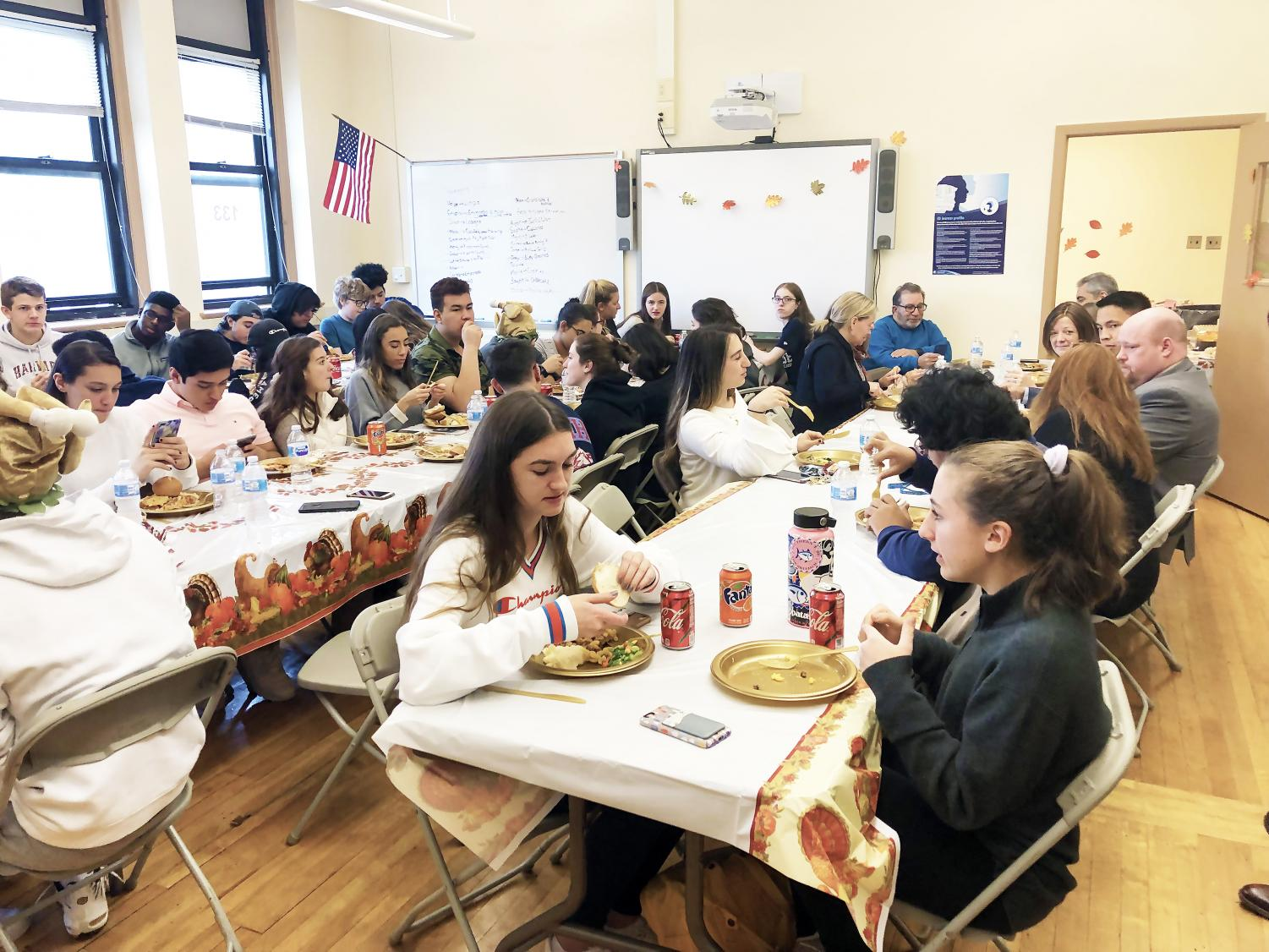 B.R.I.D.G.E. students celebrate community and family by sharing Thanksgiving with  their friends, teachers and administrators.
