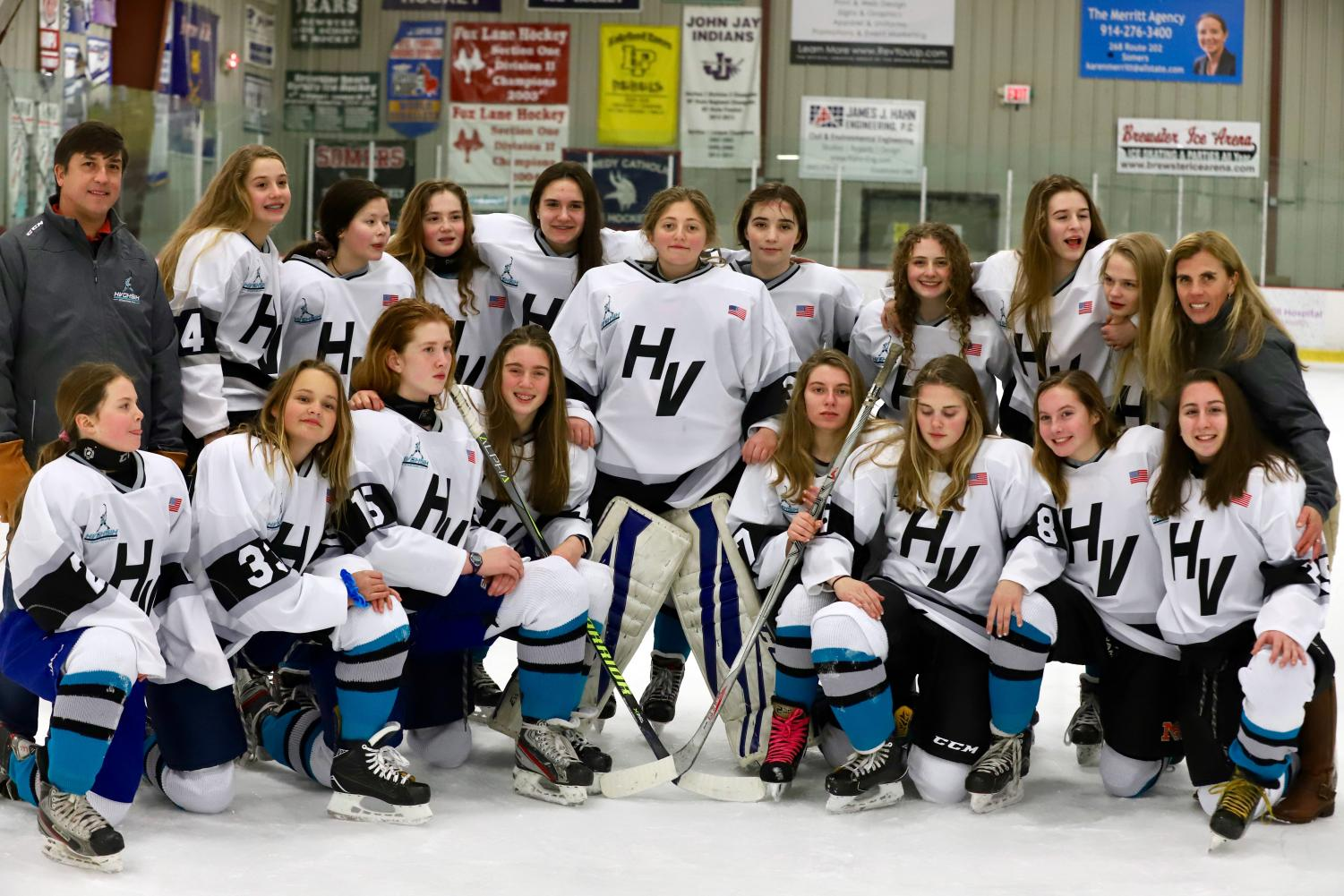 The girls ice hockey team was victorious in their first outing.