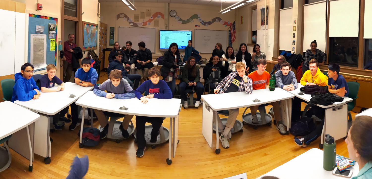 PMHS History Bowl teams prepare for the next question in one of the final rounds of the  History Bowl competition.