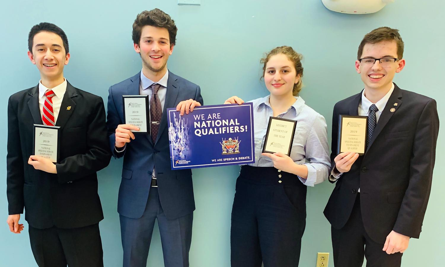 Sophomore Isaac Blackburn, junior Henry Driesen, sophomore Rebecca Jacobson and junior Nick Lieggi  will represent the district at the NSDA National Tournament in Dallas.