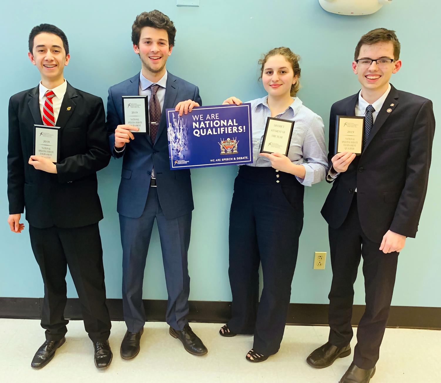 (from l to r): Sophomore Issac Blackburn, senior Henry Driesen, sophomore  Rebecca Jacobson, and junior Nick Lieggi will compete against the top orators in the country at the National Championship in Dallas.
