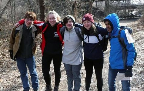 (l to r): Alumni Ben Jones, Pelham resident  Lindsey Jade Marsigliano, seniors Max Giantelli, Ciara Lawless, and sophomore Sanjay Seecharran  have taken scouting to the next level with their outdoor group.