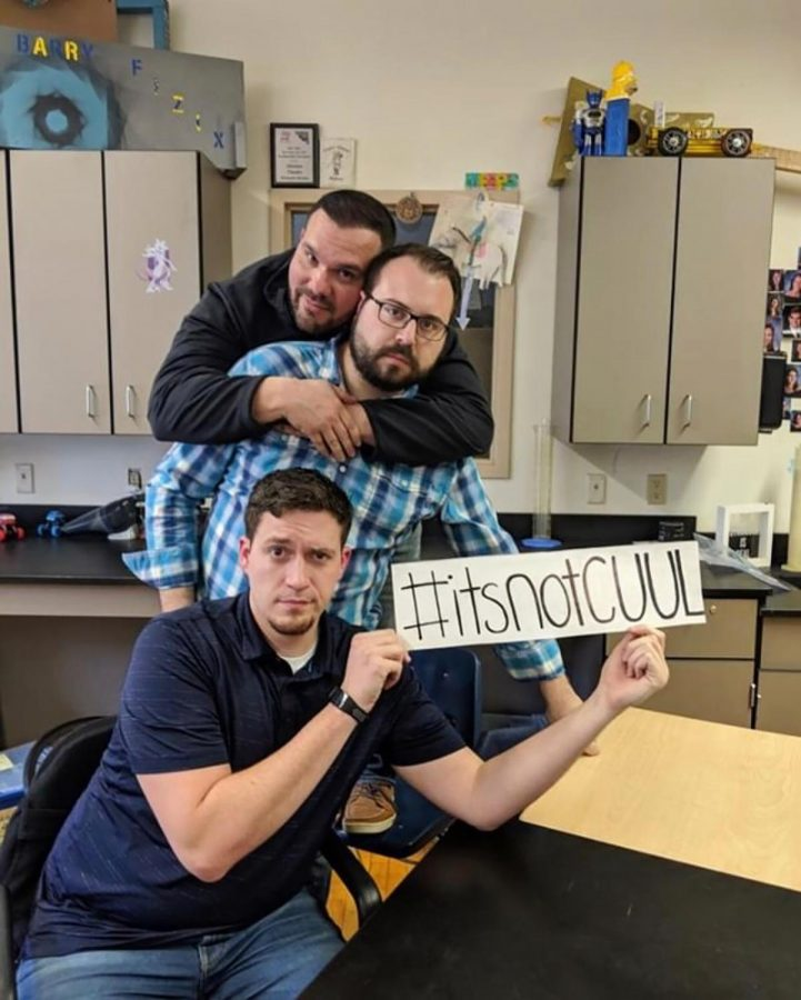 As part of the school's anti-juuling campaign, Physics teachers (rear to front) Mr. Schembari, Mr. DiBello, and Mr. Lindley discourage vaping.