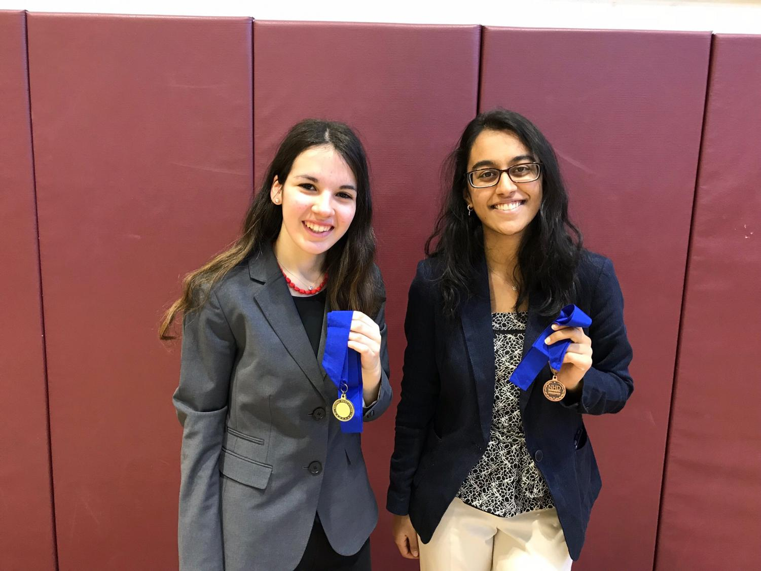 Juniors Helen Meyerson and Vedika Basavatia earned NHD medals for placing 1st and 3rd, respectively.