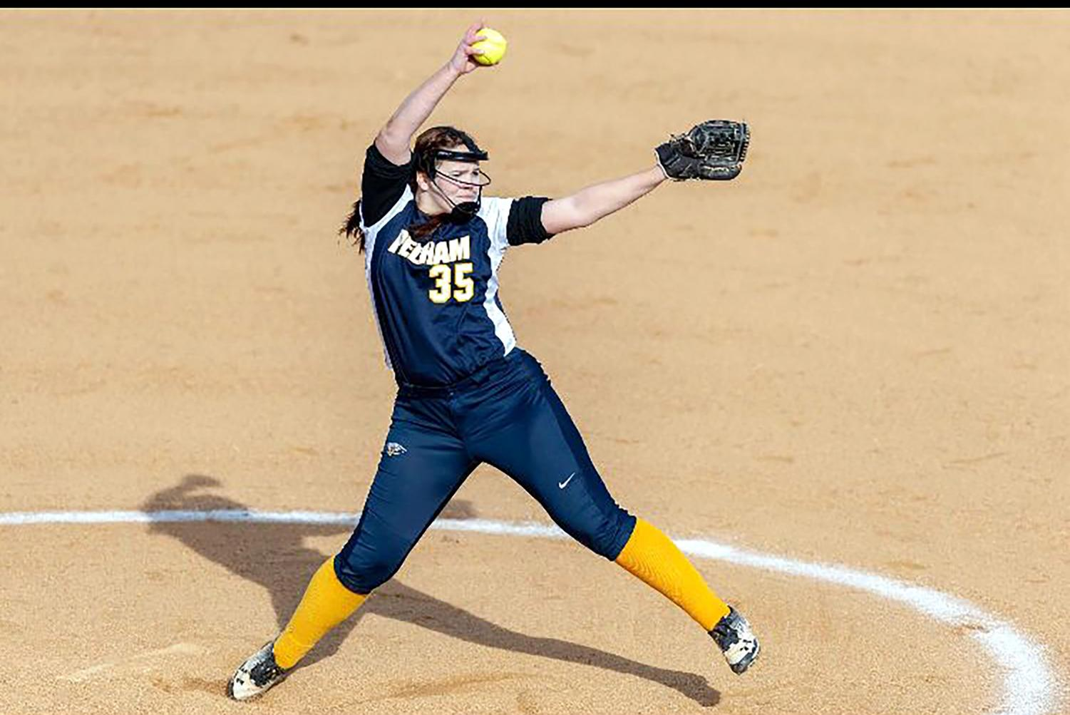 Senior KP Boggs winds up for a big pitch on the softball mound.