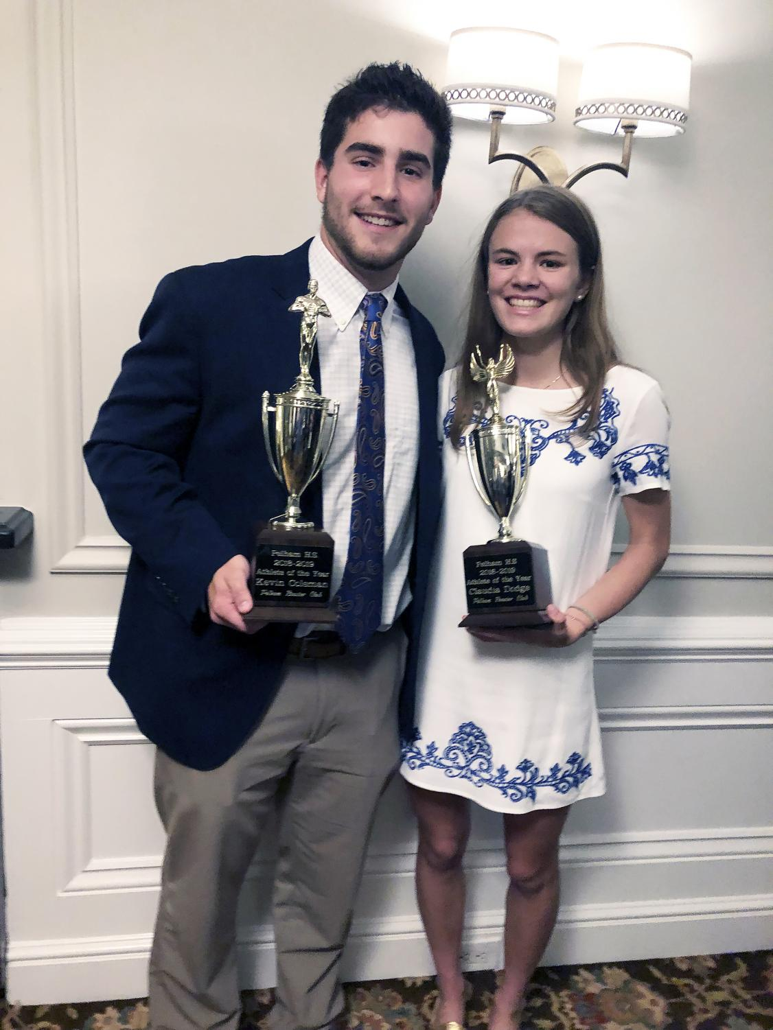 Seniors Kevin Coleman and Claudia Dodge share the distinction of being  Athletes of the Year for 2019.