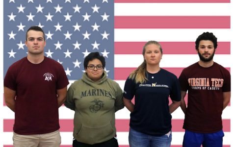 (l to r): Seniors Andrew Shulzhenko, Ashley Montiel, Maddy Ploch, and Henry Driesen aim to include military service in their future.