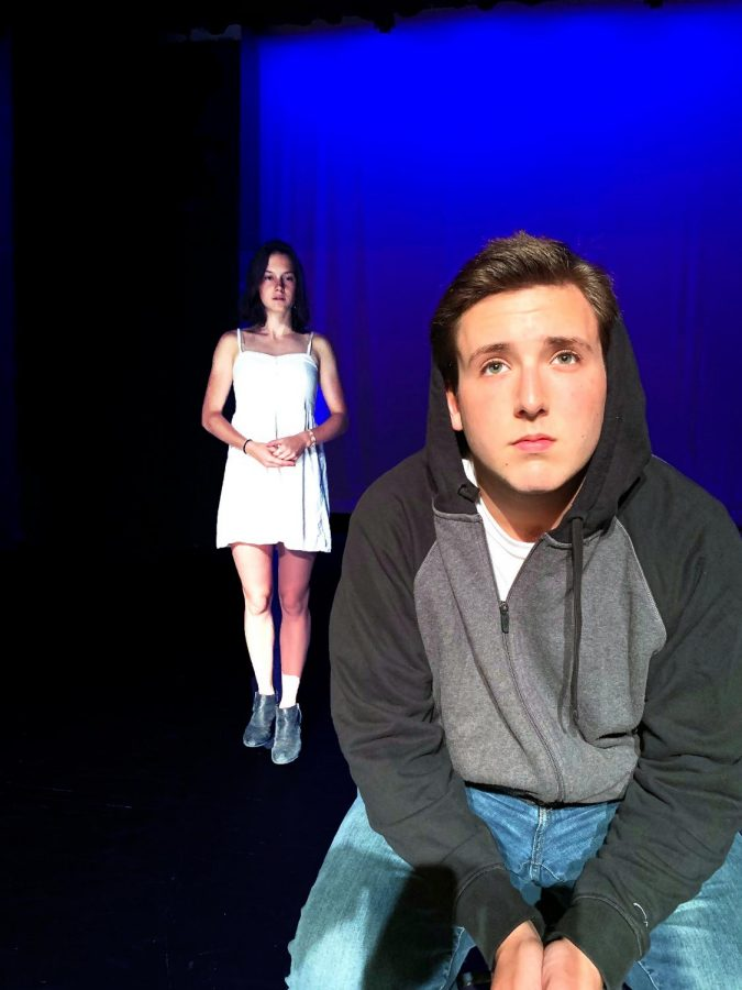 (Back to front): Senior Violet Massie-Vereker confronts senior Jack Hopkins about the truth in 'Everyday Liars.'
