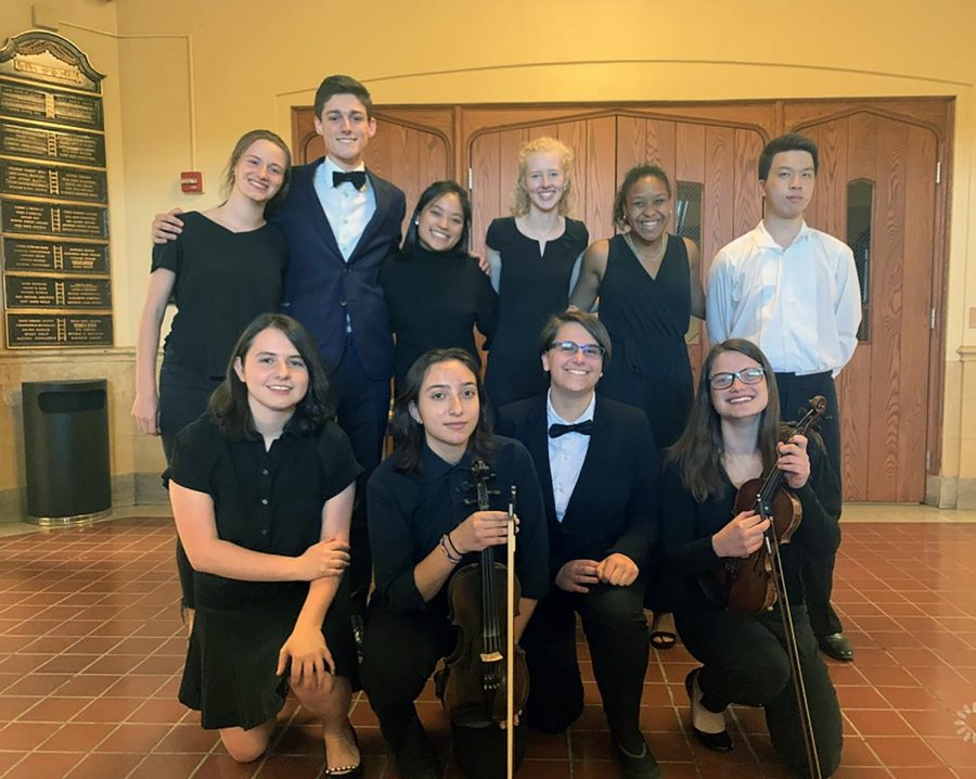 Senior orchestra members performing in their final concert at Pelham were (top row, l to r):  Meredith Kuster, John-Howard Bissell, Olivia Ting, Sophia McSpedon, Nora Tahbaz, and Ricardo Cui, as well as (bottom row, l to r): Tara Matz, Daniella Cherner, Erin Cohen, and Lauren Kuster.