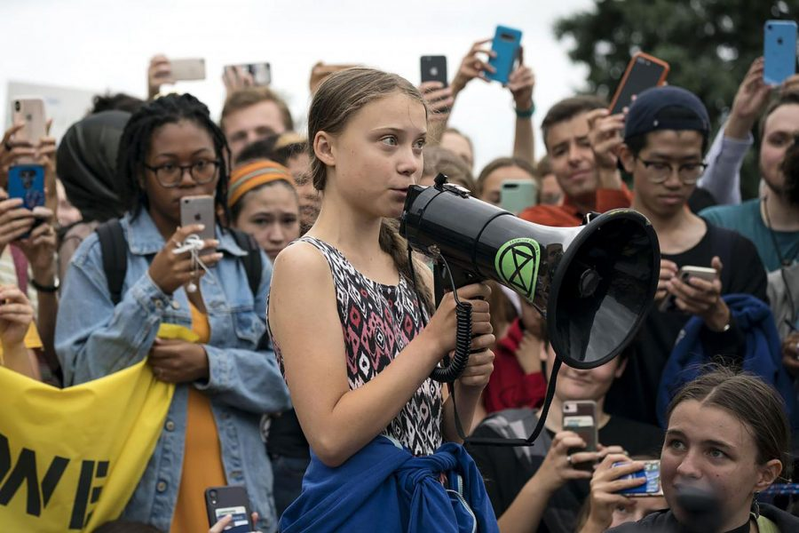 Youth activist Greta Thunberg addresses the crowd at the Global Climate Strike.