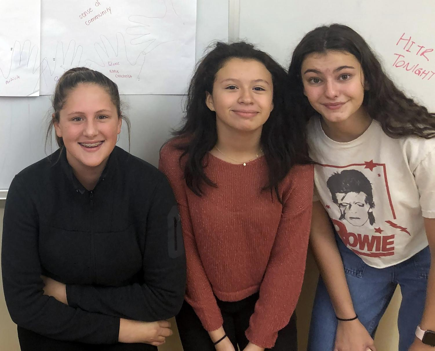 (l to r): Freshmen Julia Gunster, Sorany Campo, and Anna Gambone are learning a lot from their senior mentors!