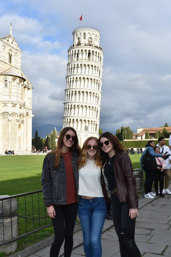 (right to left) Sophomore Caroline Garufi and Juniors Caroline Veteri and Caroline Spana in Pisa somehow discover the importance of leaning on a friend.