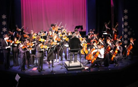 """Dr. Zanky and the orchestra entice the crowd with their rendition of """"A Mad Russian's Christmas."""""""