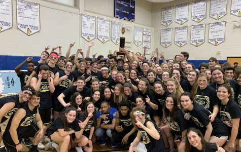 The seniors hold aloft the Charlie Wilson Trophy, awarded to the winning Olympic grade. The trophy is named for Charlie Wilson, former Pelham District Superintendent, who initiated the Olympic games here at Pelham.