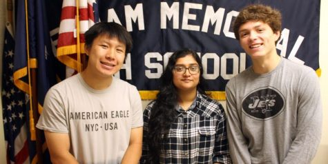 (l to r) Peter Wei, Asher Lal and Lance Brady advanced as finalists in the National Merit Scholarship competition.