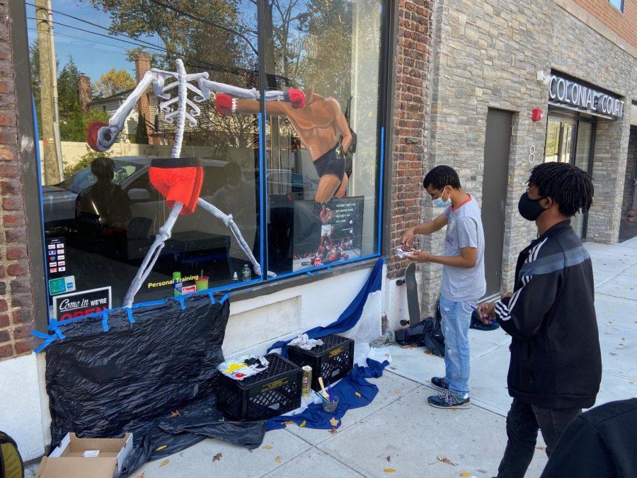 Art Students Paint Pelham's Windows