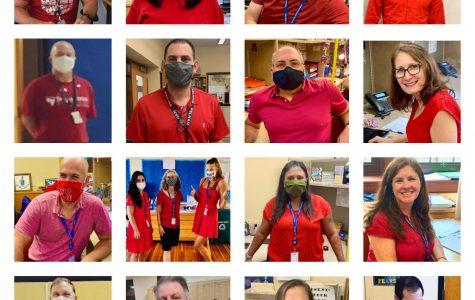 Pelham's own Crimson Tide: Teachers show their discontent with district safety policy by wearing red.