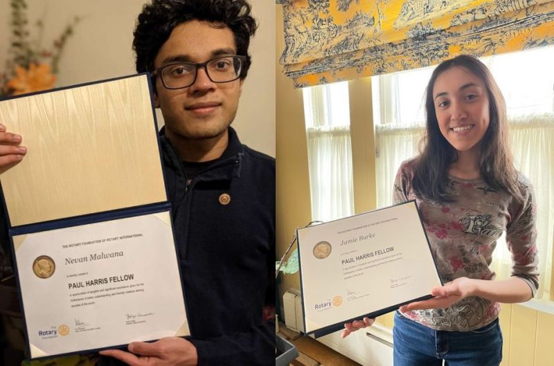 Seniors Nevan Malwana and Jamie Burke worked tirelessly this year for global humanitarian causes and, in doing so, were named Rotary's Paul Harris Fellows.
