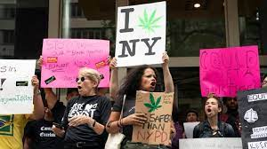 People gather to protest for the legalization of marijuana -- an issue that has become increasingly popular with the people of New York.