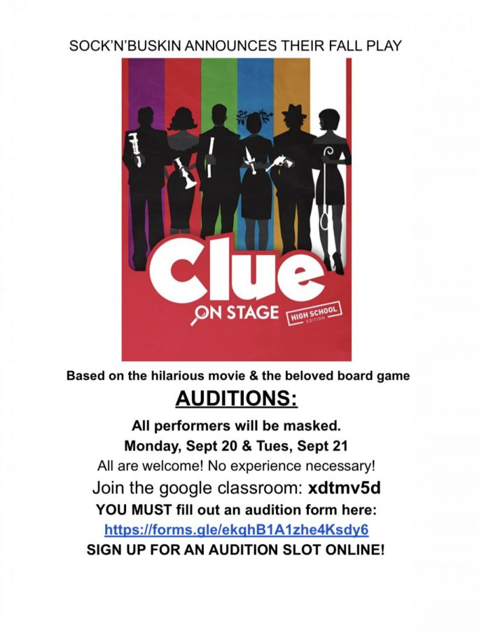 Sock 'n' Buskin Holds Auditions for CLUE 9/20 & 9/21